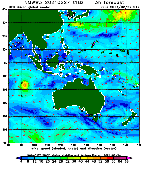 Australia and Indonesia Wind Speed and Direction Forecast