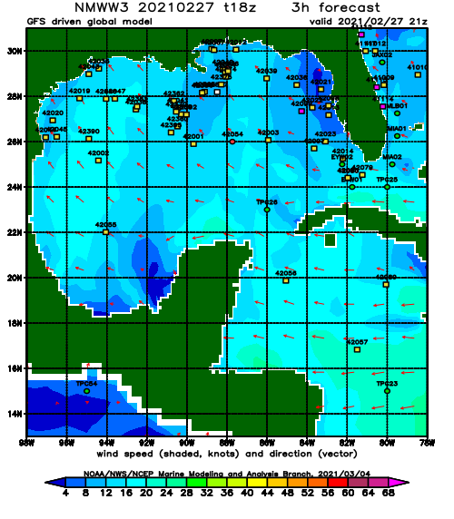 Gulf of Mexico Wind Speed and Direction Forecast