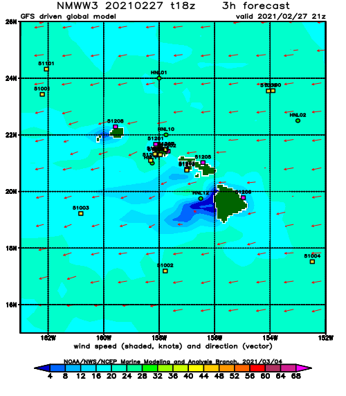 Hawaii Wind Speed and Direction Forecast